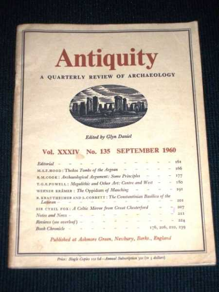Image for Antiquity - A Quarterly Review of Archaeology - September 1960