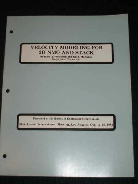 Image for Velocity Modeling for 3D NMO and Stack
