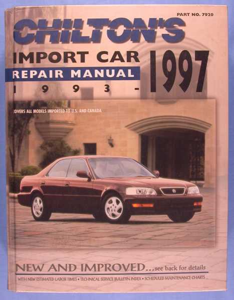 Image for Chilton's Import Car Repair Manual 1993-97 (Part No. 7920)